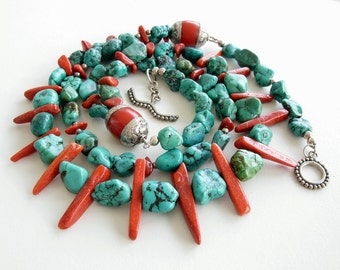Turquoise and Coral Necklace and Earring Set, Tibetan beads, double strand genuine turquoise and red bamboo coral, matching earrings