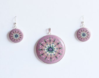 Polymer clay millefiori cane earring and pendant set