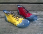 Red and yellow derby shoes for dancing