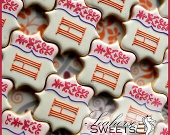 Elegant Monogram Cookies (quantity: 12)