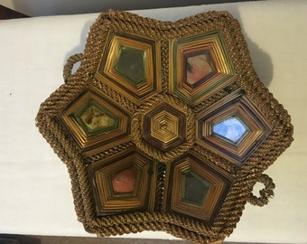 Antique coiled braided straw bowl/basket Early 1900s