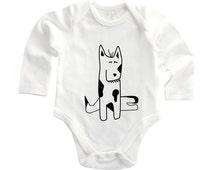 Dog lover babygrow, animal lover, hand drawn baby, hipster baby, baby dog