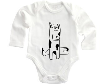 Dog lover babygrow, animal lover, hand drawn baby, hipster baby, baby dog