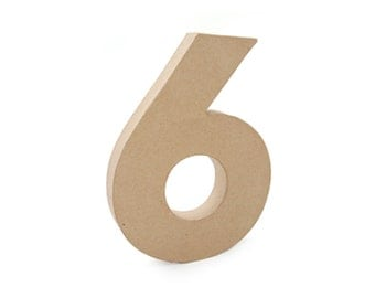 Paper Mache Cardboard 12 Inch Number 6 - Numbers - Six - Paper Craft Party Decor Supplies