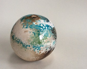 Earth Jar with blue, green & white glaze