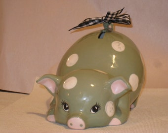 """Ceramic Pig Bank, hand painted by Joan Davis, Green with white dots  8""""  X 5"""""""