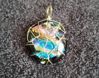 Dichoric Glass Multi Coloured Rainbow Wire Wrap Pendant