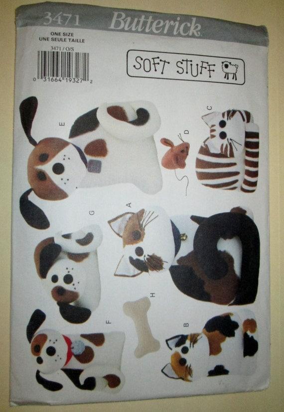 1994 Butterick 3471 Soft Stuff stuffed cats and dogs craft pattern UNCUT