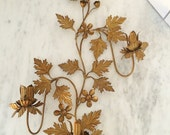 Gold Metal Sconce, Ornate Italian Sconce, Gold Leaves Candelabra, Gold Wall Hanging