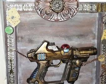 Steampunk gun shadow box