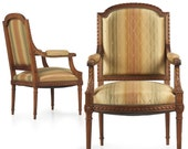 Antique Pair of French Louis XVI Style Walnut Fauteuils 19th Century, 503OAT22
