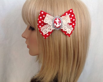 Red and white polka dot anchor hair bow clip rockabilly psychobilly Lolita lace rock punk pin up girl cute vintage nautical sailor fabric