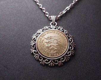 Africa Banque des États de l'Afrique Centrale Coin Necklace - Antelope Coin Pendant in Pendant Tray-40 Year Anniversary Gift