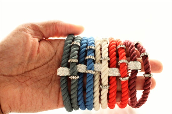 Hand Dyed Cotton Nautical Rope Silver Pave Rondelle Personalized Tag Bracelets
