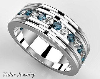 multi colored diamond wedding band for mensunique mens wedding ringblue diamond wedding band for mens - Unusual Mens Wedding Rings