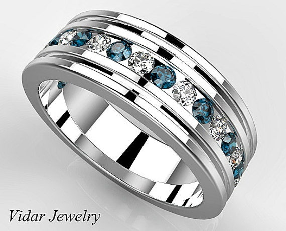 Multi Colored Diamond Wedding Band For MensUnique Mens