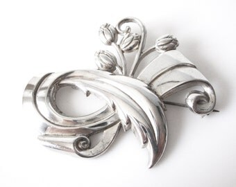 Vintage Sterling Silver Floral Spray Brooch
