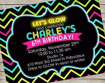 Glow in the Dark Invitation PIY file ~ Glow Birthday Party Invite ~ Glow Printable Digital File