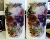 Botanical Skull Candle // Pillar Candle // White // Unscented