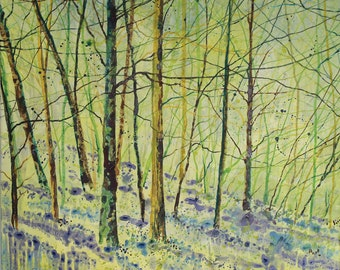Original landscape painting on canvas, bluebell woods, canvas art, tree painting, woodland art, acrylic ink painting, spring landscape