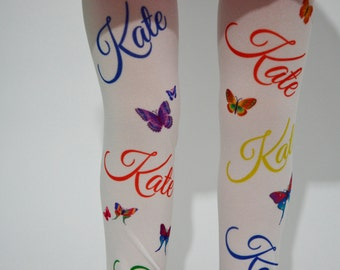 New Personalized Custom Name Tights , Girls tights