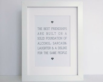 the best friendships framed print | stocking filler | secret santa gift
