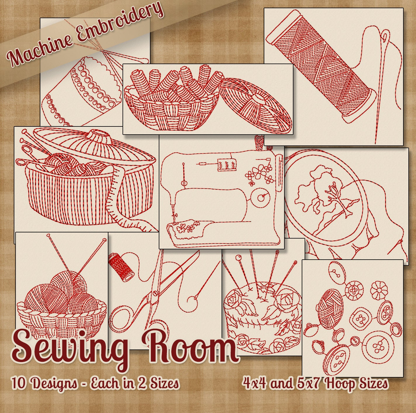 Sewing Room Redwork Embroidery Machine Designs 10 Patterns 2