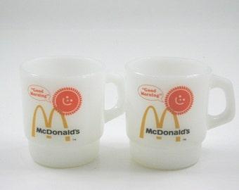 Pair of McDonald's Good Morning Fire King Mugs