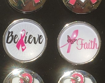 Breast Cancer Snap Charms