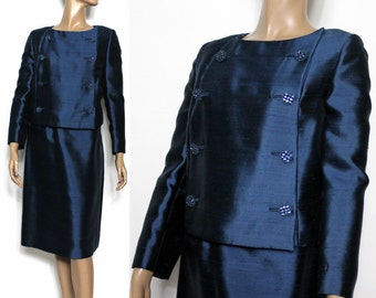 Vintage 1960s Suit//Blue Rhinestone Buttons// Double Breasted //Blue Suit//Satin Lined//Beautiful//