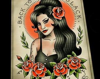 Amy Winehouse Tattoo Flash Art Print