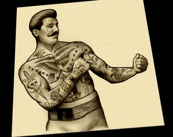 traditional boxer boy tattoo art print. Black Bedroom Furniture Sets. Home Design Ideas