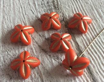 16x6mm Orange Bell Flower Czech Glass Beads (6 pcs)