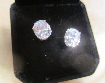 Pair of Oval Cubic Zirconia Studs set in Sterling Silver