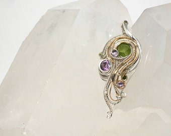 Amethyst and peridot silver wire wrapped pendant