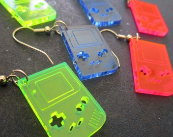 Gameboy Shape Retro Earrings Neon - Pink, Green & Blue Dangle Earrings