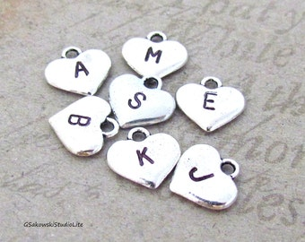 Add on initial antique silver heart charm, personalized heart letter monogram