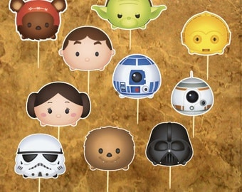 Star Wars Inspiration Cupcacke Toppers - Tsum Tsum Star Wars Cake Toppers - Wedding -  Baby Shower