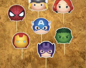 14 Tsum Tsum Avengers Cupcake Toppers - Super Hero Cupcake Toppers - Avengers Birthday -  Party - Wedding - Baby Sower,