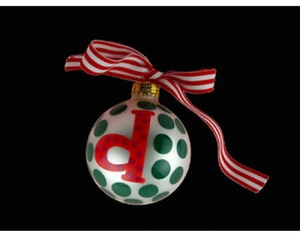 """Coton Pottery Hand Painted Red Lower Case """"d"""" Initial with Green Polka Dots Holiday Ornament with Red Ribbon Bow"""