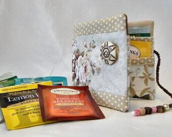 Cream rose tea bag wallet