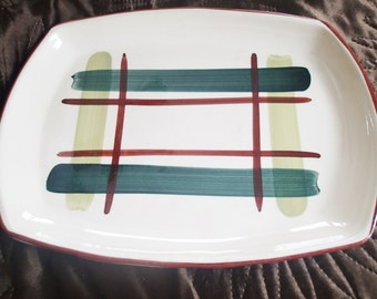 Plaid dinnerware platter Blair pottery 'Gay Plaid' Serving Platter Decorated by Hand plaid dinnerware, vintage 1940's