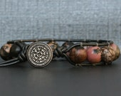 rhodonite bracelet on pewter leather - single wrap bangle - boho gypsy bohemian jewelry - pink black grey