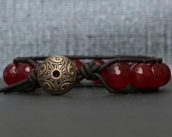 ruby red jade on black brown leather - boho wrap bracelet - bangle - single wrap bracelet - bohemian jewelry