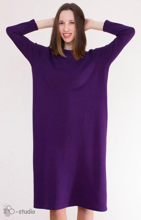 Violet Dress Knitting Pattern : Plus Size knitting pattern Hand knitted dress Violet knit dress Over Size Swe...