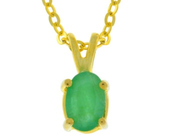 14Kt Yellow Gold Plated Natural Emerald Oval Pendant