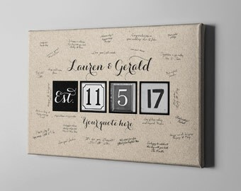 SALE 50% Off Canvas Guest Book, Kraft Wedding Canvas Guest Book, Tree Guest Book Alternative, Love Quote Signature Guest Book - CGB40