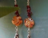 Mermaid garnet handmade agate earrings