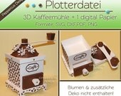 Plotterdatei - 3D Kaffeemühle + digital Papier /PD002