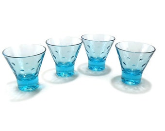 Vintage Capri Dots Turquoise Whiskey Shot Glass * Set of 4 Liquor Glasses * Hazel Atlas Cocktail Glass
